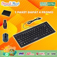 Paket Keyboard Eksternal USB Komputer Bonus Flashdisk Mouse & Mousepad