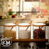 Tempat bumbu Vintage Glass Wood Style Jar