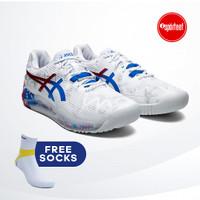 Asics Gel Resolution 8 White Electric Blue Tennis Sepatu Tenis BNIB
