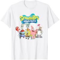 Baju Kaos DTG Anak Spongebob Squarepants Friends-Untuk Usia 1-12 Tahun - Putih, S