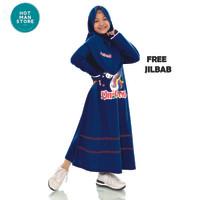 Baju Gamis Anak Perempuan Set Hijab Motif Unicorn Bahan Voxi Kualitas - NAVY, S