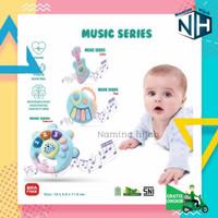 Mainan EDUKASI Bayi Rattle Motif Alat Musik+Musik+Lampu kelap kelip - Gitar