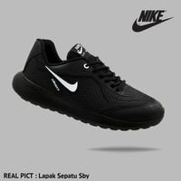 Sepatu Sport Nike Airmax Running Men - Full Black Hitam Sekolah Kerja - FULLBLACK PUTIH, 49