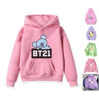 Baju jaket hoodie anak perempuan bt21 pink 6 7 8 9 10 tahun MURAH