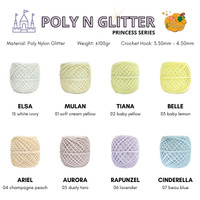 Benang Rajut Poly N Glitter (PRINCESS SERIES) Poliester Nylon Glitter