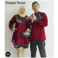 BING BAJU COUPLE TORAJA Baju Muslim Pria dan Wanita,Baju Couple Muslim - marun, XL