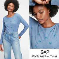 G*P Waffle Knit Crewneck T-Shirt Kaos Lengan Panjang Wanita Polos Ori - Black, XS