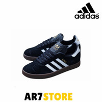 sepatu casual pria adidas gazelle suede black white sole gum original - 40