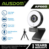 AUSDOM Webcam 1080P 60FPS Autofocus with Tripod, Light - AF660