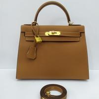 Tas HK 28 cm Gold Epsom Original Leather Half Handmade
