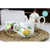 MMS Kanset Nakato/Cangkir Set Keramik Motif Timbul
