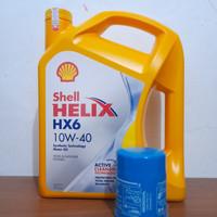 paket oli shell hx6 10w-40+filter oli honda,brio,mobilio,jazz,city,brv