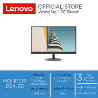 "Lenovo Monitor D24-20 23.8"" FHD NearEdgeless VA Panel 75hz"