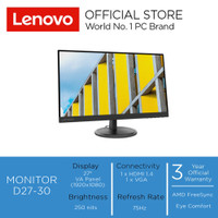 "Lenovo Monitor D27-30 27"" FHD NearEdgeless VA Panel 75Hz"