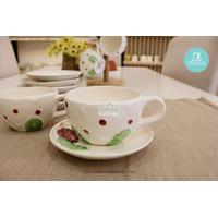 MMS Cup Saucers Strawberry/Cangkir Set Keramik Motif 12Pcs