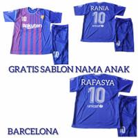 Setelan Jersey baju kaos bola anak kids Barcelona bonus sablon nama