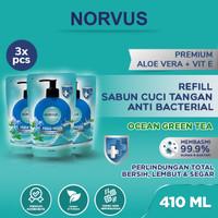 Sabun Cuci Tangan Anti Bakteri Ocean Green Tea 3 pcs x 410ml - NORVUS