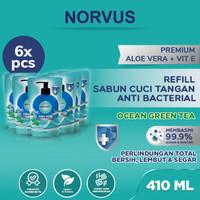 Sabun Cuci Tangan Anti Bakteri Ocean Green Tea 6 pcs x 410ml - NORVUS