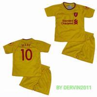 setelan baju bola anak/liver tosca/liver mrh/liver abu/jersey terbaru - liver kuning, 4(8bln-18bln)
