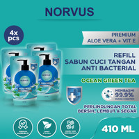 Sabun Cuci Tangan Anti Bakteri Ocean Green Tea 4 pcs x 410ml - NORVUS