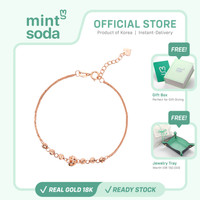 Mint Soda Korea - Gelang Emas 18K / 750 - Lady Hearts with Orbit Charm