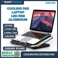 Cooling Pad 6 Fan Cooler Stand Kipas Pendingin Laptop Notebook Gaming