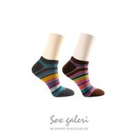 Sox Galeri-Stripe Socks-Kaos Kaki Wanita Katun-Sneaker Socks-10 Warna