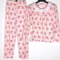 Baju Tidur Wanita Piyama Setelan Import Motif Renda PP - Peach