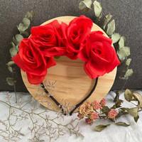 flower crown mahkota bunga mawar aksesoris foto bando pesta murah