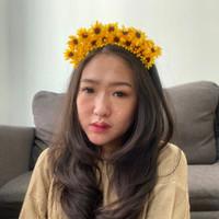 bando bunga matahari sun flower summer flower crown aksesoris foto