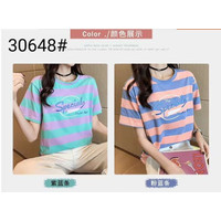 Tshirt kaos atasan baju wanita / Kaos remaja garis Vintage #30648