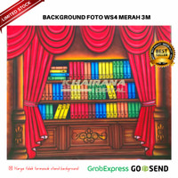 Background Backdrop Latar/Layar Foto Rak Wisuda Gorden Merah 3x2.5m