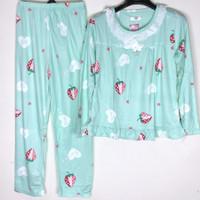 Baju Tidur Wanita Piyama Setelan Import Motif Renda PP - Strawberry 2