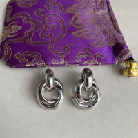 Anting aloy silver circle + pouch