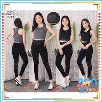 Setelan / Set Crop Top Sport Senam Olahraga Gym Yoga Wanita Import