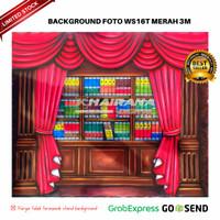 Background Backdrop Latar Foto Rak Wisuda Gorden Merah WS16T 3x2.5m