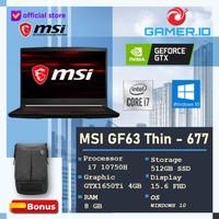 MSI GF63 Thin 144Hz i7 10750H 8GB 512ssd GTX1650Ti 4GB W10 15.6FHD 677