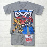 Setelan Baju Anak Laki Laki Karakter Transformers - L, Abu-abu