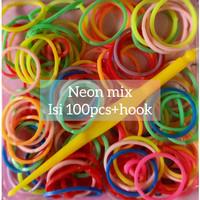 Karet Rainbow Loom Bands Isi 100pcs Neon Mix