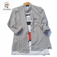 Baju Kemeja Lengan Panjang Pria Polos Big Size XXL Jumbo Aneka Warna - - silver, M