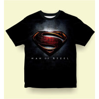 Baju Kaos Anak Laki-Laki Dan Superman MAN OF STEEL usia 1-12 tahun - Hitam, S