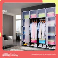 Lemari Baju Plastik DIY 12/16 Pintu Almari Pakaian Tempat Baju