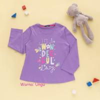 Baju Kaos Atasan Anak Perempuan Lengan Panjang Combed 30s 4 6 8 10 th - Ungu, 10-11 tahun