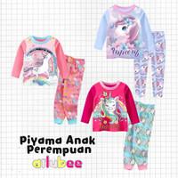 Piyama Baju Tidur Anak Perempuan Panjang Ailubee Unicorn Rainbow Pink