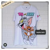 Kaos Oversize | Tshirt Jumbo | Baju Atasan Wanita - Tom&Jerry Putih, XL