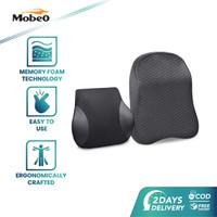 Mobeo Bantal Mobil Sandaran Leher / Punggung Memory Foam + Katun Linen