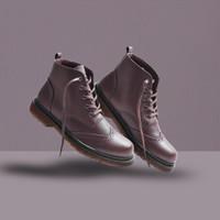 greata pellife brown - sepatu boots pria kulit asli model docmart