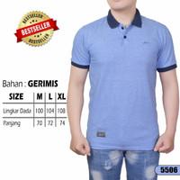 Polo Shirt Kaos Kerah Pria Premium Ukuran M | Baju Kerah | Grosir - Biru Muda, M