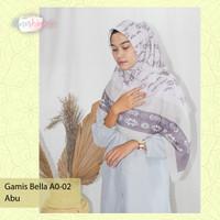 PROMO BAJU MUSLIM Gamis Rempel Kancing Panjang A0-02 MURAH LEBAY - Abu-abu