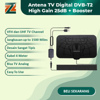 Antena TV Digital + Booster DVB-T2 High Gain 25dB